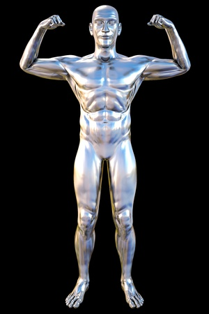 chrome man: silver statue of athlete. isolated on black. Stock Photo