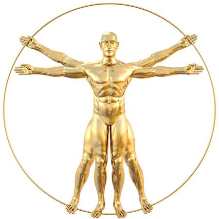 uomo vitruviano: l'uomo vitruviano di oro. isolato su bianco.