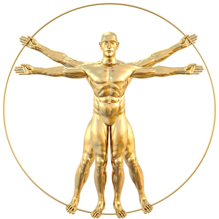 vinci: vitruvian man from gold. isolated on white.