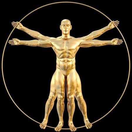 uomo vitruviano: l'uomo vitruviano di oro. isolato sul nero. Archivio Fotografico