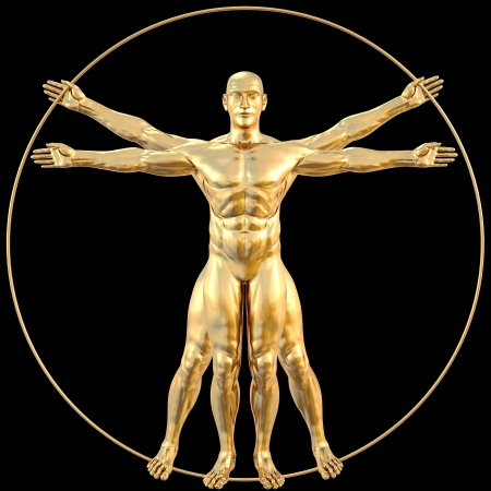 da vinci: vitruvian man from gold. isolated on black.