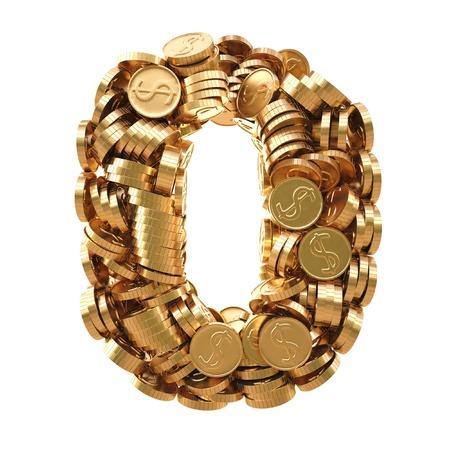 letras de oro: los números de las monedas de oro. aislado en blanco.