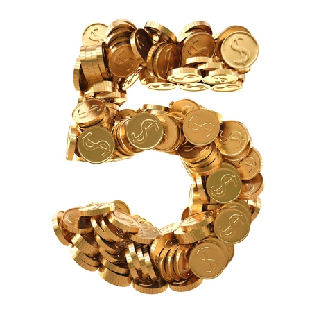 five dollars: numbers from the golden coins. isolated on white.