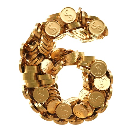 numeration: numbers from the golden coins. isolated on white.