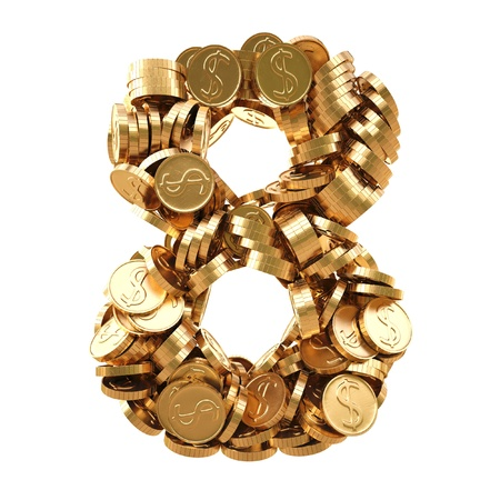 numbers from the golden coins. isolated on white.