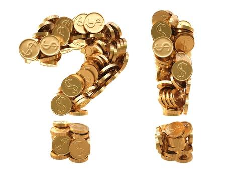 point d exclamation: question et des points d'exclamation à partir de pièces d'or. isolé sur blanc.