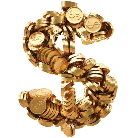 stack of coins: dollar sign from the golden coins. isolated on white.