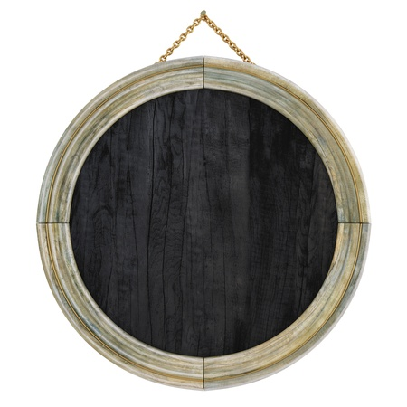 circle frame: wooden picture frame. isolated on white.