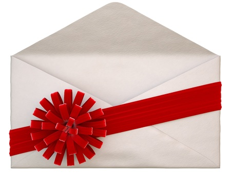 paper envelope with a red ribbon and bow. isolated on white. photo