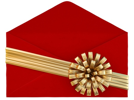 Red paper envelope with a golden ribbon and bow. isolated on white. photo