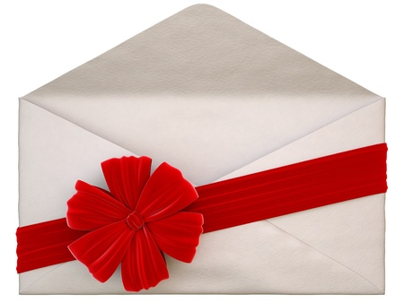 present presentation: paper envelope with a red ribbon and bow. isolated on white.