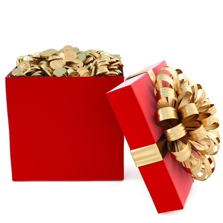 red gift with golden coins. isolated on white. Stock Photo