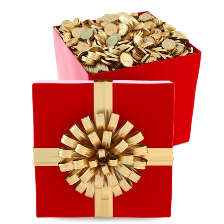 red gift with golden coins. isolated on white. photo