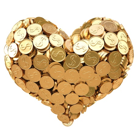 money pile: heart from golden coins. isolated on white.