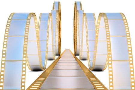 golden film reel. isolated on white. photo