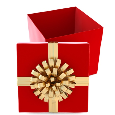 red gift tied with golden ribbon and bow. isolated on white. photo
