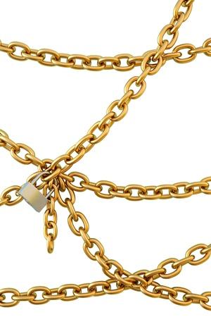 cadenas: las cadenas est�n unidas por un candado. aislado en blanco.