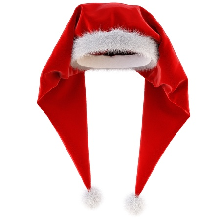 red Santa Claus hat on white background. photo