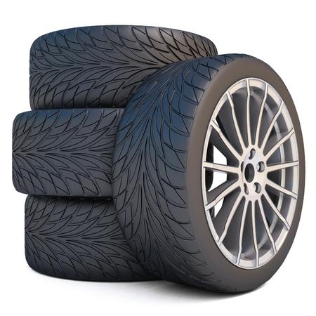 aluminum wheels: Ruedas aislado en blanco.