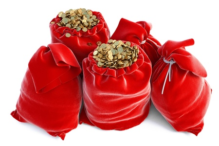 red bags full of golden coins. isolated on white. Stock Photo - 11457581