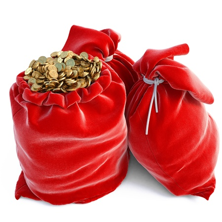 red bags full of golden coins. isolated on white. Stock Photo