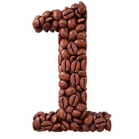 coffee beans white background: number from coffee beans. isolated on white.
