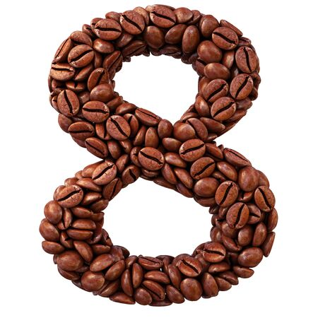 number from coffee beans. isolated on white. photo