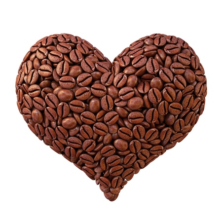 coffee crop: heart from coffee beans. isolated on white.