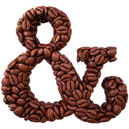 ampersand: ampersand symbol from coffee beans. isolated on white.