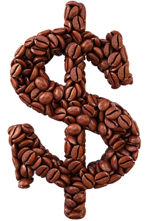 dollar sign from coffee beans. isolated on white. photo