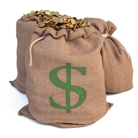 white fund: bags with golden coins. isolated on white. Stock Photo