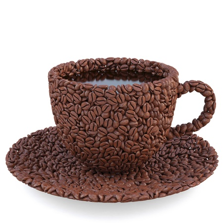 concept idea: cup and saucer of coffee beans. isolated on white.