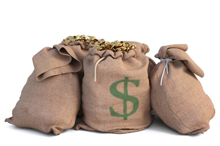 bag of money: bags with golden coins. isolated on white. Stock Photo