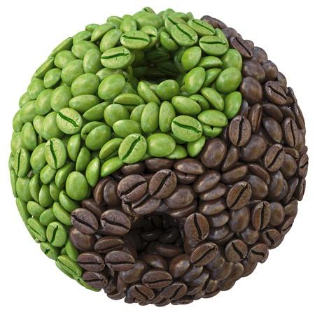 grano de cafe: yin yang símbolo de granos de café. aislado en blanco. Foto de archivo