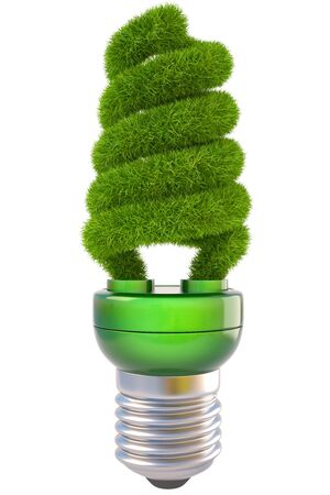 electricity 3d: light bulb with green grass. isolated on white.
