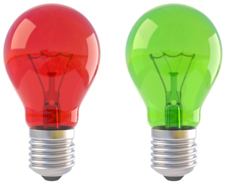 metal light bulb icon: red and green light bulb. isolated on white.