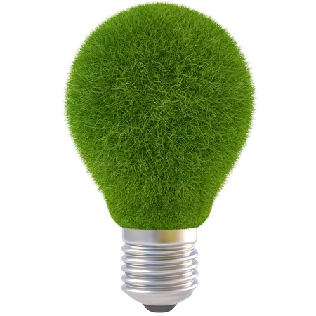 conceptual bulb: light bulb with green grass. isolated on white.