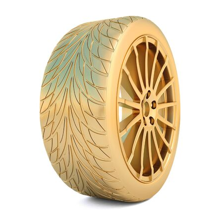 alloy wheel: golden wheel isolated on white.