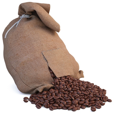 bag of coffee beans. isolated on white. photo