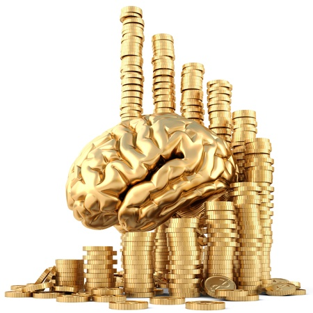 brain with twisted diagram of golden coins isolated on white. photo
