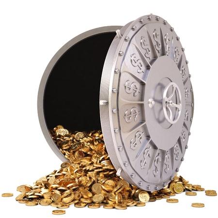 öffnen Sie einen Banktresor mit einem Haufen Goldmünzen. isoliert auf weiß.