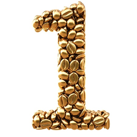 number from gold coffee beans. isolated on white. photo