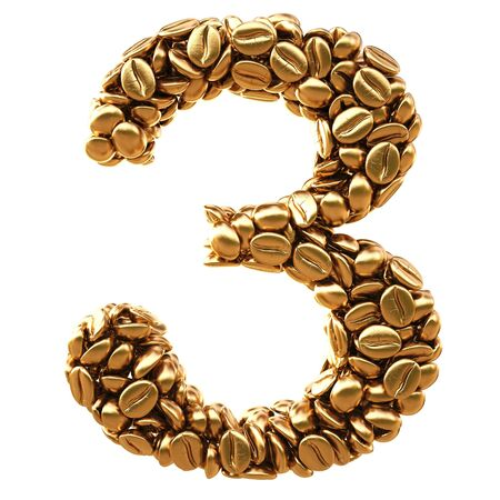 number from gold coffee beans. isolated on white.