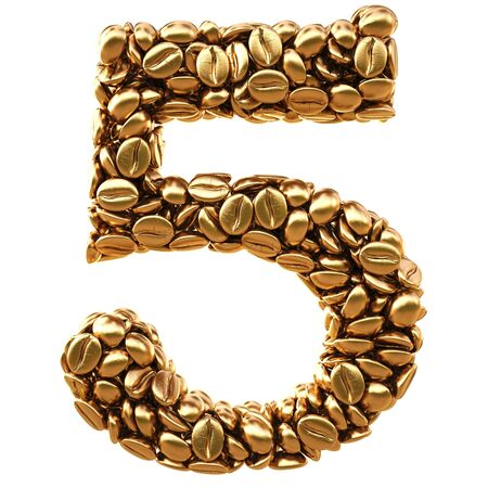 numeral: number from gold coffee beans. isolated on white.