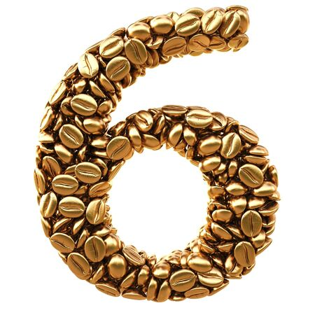 numeration: number from gold coffee beans. isolated on white.