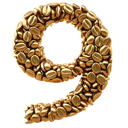 number from gold coffee beans. isolated on white. Stock Photo - 12309560