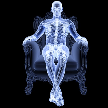x rays: man sitting in a chair under the X-rays.