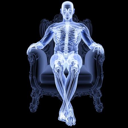skelett mensch: Mann sitzt auf einem Stuhl unter den X-Strahlen. Lizenzfreie Bilder