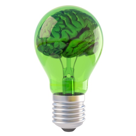 power of the brain: cervello all'interno di una lampadina verde. isolato su bianco. Archivio Fotografico