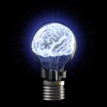 lighting bulb: brains in the light bulb. isolated on white. Stock Photo